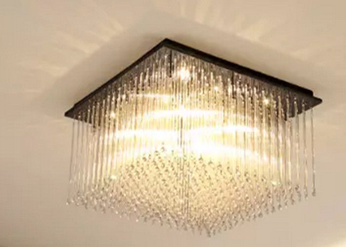 Luxurious Led Downlight Ceiling Light Rectangular Modern Crystal Chandelier