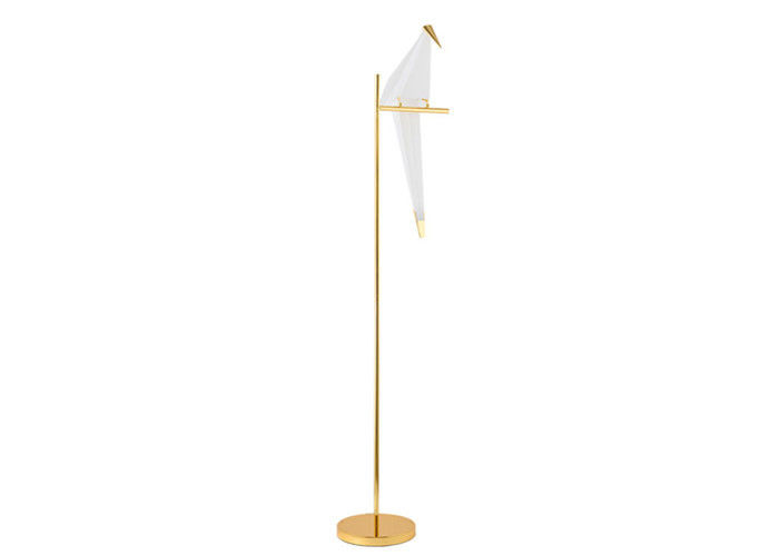 Decorative LED Adjustable Floor Lamp  Home Depot Golden Base Metal Lambader